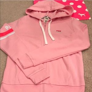 🌈NWT Pink VS baby pink logo hoodie Small